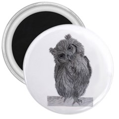 Owl 3  Button Magnet by sdunleveyartwork