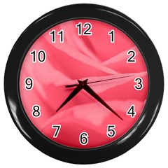 Pink Silk Effect  Wall Clock (black) by Colorfulart23