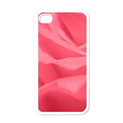 Pink Silk Effect  Apple Iphone 4 Case (white) by Colorfulart23