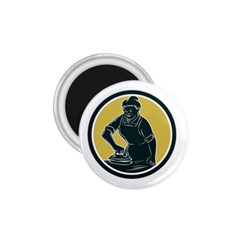African American Woman Ironing Clothes Woodcut 1 75  Button Magnet by retrovectors