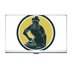 African American Woman Ironing Clothes Woodcut Business Card Holder by retrovectors