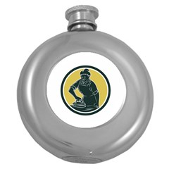 African American Woman Ironing Clothes Woodcut Hip Flask (round) by retrovectors