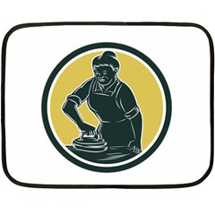 African American Woman Ironing Clothes Woodcut Mini Fleece Blanket (two Sided) by retrovectors