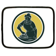 African American Woman Ironing Clothes Woodcut Netbook Sleeve (xxl) by retrovectors