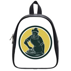 African American Woman Ironing Clothes Woodcut School Bag (small) by retrovectors