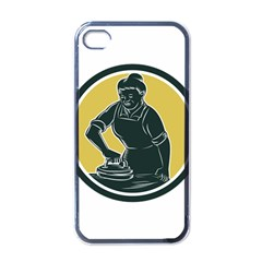 African American Woman Ironing Clothes Woodcut Apple Iphone 4 Case (black) by retrovectors