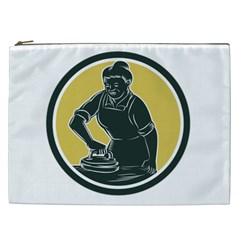 African American Woman Ironing Clothes Woodcut Cosmetic Bag (xxl) by retrovectors