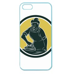 African American Woman Ironing Clothes Woodcut Apple Seamless Iphone 5 Case (color) by retrovectors