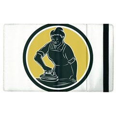 African American Woman Ironing Clothes Woodcut Apple Ipad 2 Flip Case by retrovectors