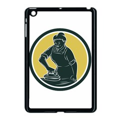 African American Woman Ironing Clothes Woodcut Apple Ipad Mini Case (black) by retrovectors