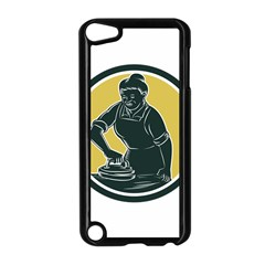 African American Woman Ironing Clothes Woodcut Apple Ipod Touch 5 Case (black) by retrovectors