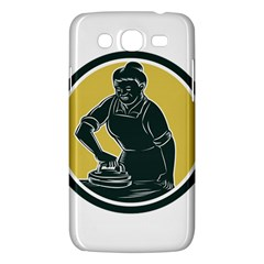 African American Woman Ironing Clothes Woodcut Samsung Galaxy Mega 5 8 I9152 Hardshell Case  by retrovectors