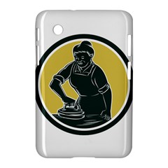 African American Woman Ironing Clothes Woodcut Samsung Galaxy Tab 2 (7 ) P3100 Hardshell Case  by retrovectors