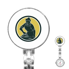 African American Woman Ironing Clothes Woodcut Stainless Steel Nurses Watch by retrovectors