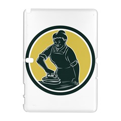 African American Woman Ironing Clothes Woodcut Samsung Galaxy Note 10.1 (P600) Hardshell Case by retrovectors