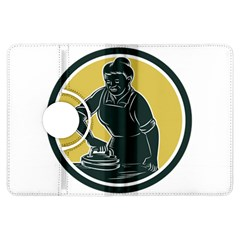 African American Woman Ironing Clothes Woodcut Kindle Fire Hdx 7  Flip 360 Case by retrovectors