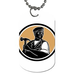 Carpenter Holding Hammer Woodcut Dog Tag (two Sided)  by retrovectors