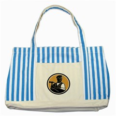 Carpenter Holding Hammer Woodcut Blue Striped Tote Bag by retrovectors