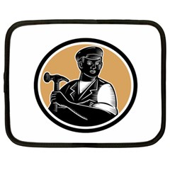 Carpenter Holding Hammer Woodcut Netbook Sleeve (xl) by retrovectors