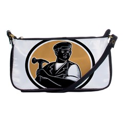 Carpenter Holding Hammer Woodcut Evening Bag by retrovectors