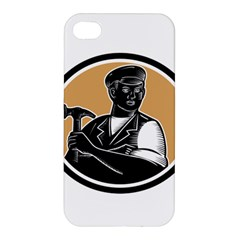 Carpenter Holding Hammer Woodcut Apple Iphone 4/4s Hardshell Case