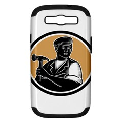 Carpenter Holding Hammer Woodcut Samsung Galaxy S Iii Hardshell Case (pc+silicone) by retrovectors