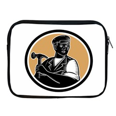 Carpenter Holding Hammer Woodcut Apple Ipad Zippered Sleeve by retrovectors