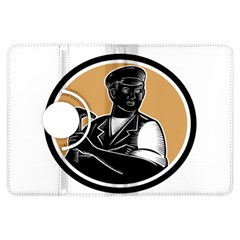 Carpenter Holding Hammer Woodcut Kindle Fire Hdx 7  Flip 360 Case by retrovectors