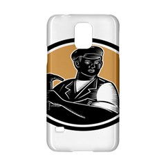 Carpenter Holding Hammer Woodcut Samsung Galaxy S5 Hardshell Case  by retrovectors