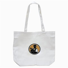 Carpenter Holding Hammer Woodcut Tote Bag (white) by retrovectors