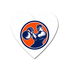 Bodybuilder Lifting Kettlebell Woodcut Magnet (heart) by retrovectors