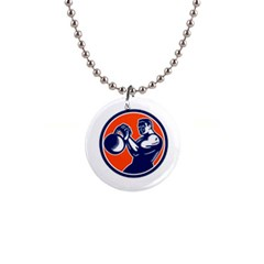 Bodybuilder Lifting Kettlebell Woodcut Button Necklace by retrovectors