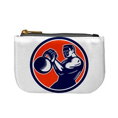 Bodybuilder Lifting Kettlebell Woodcut Coin Change Purse by retrovectors