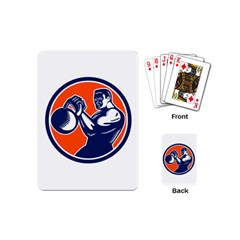 Bodybuilder Lifting Kettlebell Woodcut Playing Cards (mini) by retrovectors