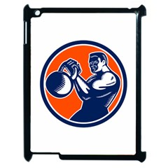 Bodybuilder Lifting Kettlebell Woodcut Apple Ipad 2 Case (black) by retrovectors