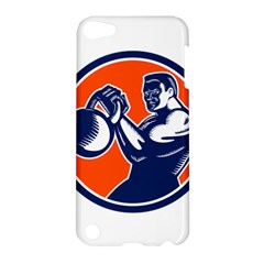 Bodybuilder Lifting Kettlebell Woodcut Apple Ipod Touch 5 Hardshell Case by retrovectors