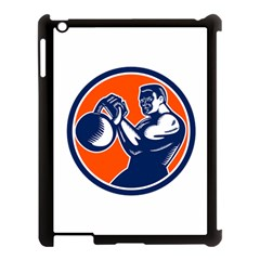 Bodybuilder Lifting Kettlebell Woodcut Apple Ipad 3/4 Case (black) by retrovectors