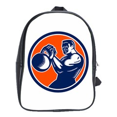 Bodybuilder Lifting Kettlebell Woodcut School Bag (xl) by retrovectors