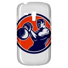 Bodybuilder Lifting Kettlebell Woodcut Samsung Galaxy S3 Mini I8190 Hardshell Case by retrovectors