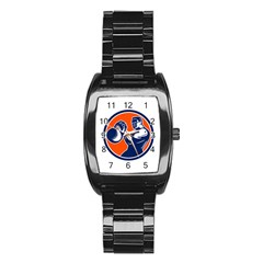 Bodybuilder Lifting Kettlebell Woodcut Stainless Steel Barrel Watch by retrovectors