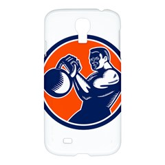 Bodybuilder Lifting Kettlebell Woodcut Samsung Galaxy S4 I9500/i9505 Hardshell Case by retrovectors