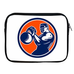 Bodybuilder Lifting Kettlebell Woodcut Apple Ipad Zippered Sleeve by retrovectors