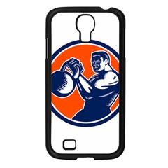 Bodybuilder Lifting Kettlebell Woodcut Samsung Galaxy S4 I9500/ I9505 Case (black) by retrovectors