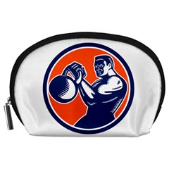 Bodybuilder Lifting Kettlebell Woodcut Accessory Pouch (large)