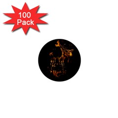 Skull Burning Digital Collage Illustration 1  Mini Button Magnet (100 Pack) by dflcprints