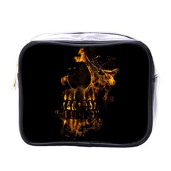 Skull Burning Digital Collage Illustration Mini Travel Toiletry Bag (one Side) by dflcprints