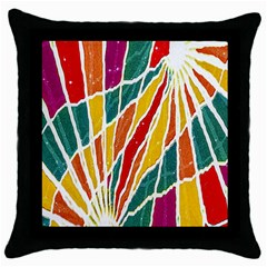 Multicolored Vibrations Black Throw Pillow Case by dflcprints