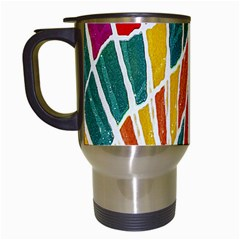 Multicolored Vibrations Travel Mug (white) by dflcprints
