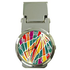 Multicolored Vibrations Money Clip With Watch by dflcprints