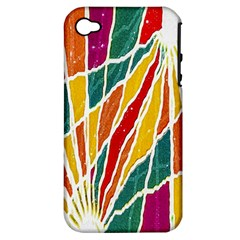 Multicolored Vibrations Apple Iphone 4/4s Hardshell Case (pc+silicone) by dflcprints